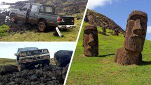 Pick-up έπεσε πάνω σε αρχαίο άγαλμα στο Νησί του Πάσχα