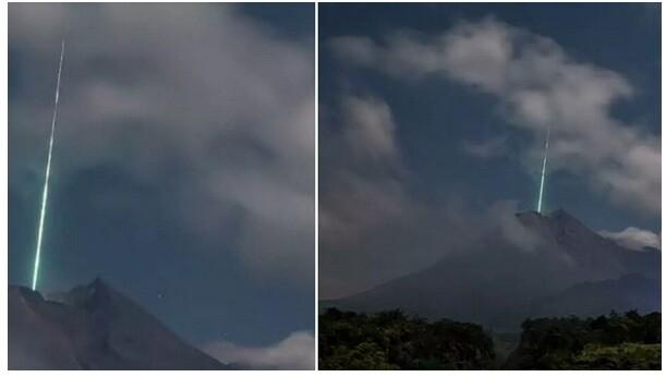 UFO στην Ινδονησία; - Εξωγήινη πράσινη ακτίνα σε κρατήρα ηφαιστείου - Βίντεο