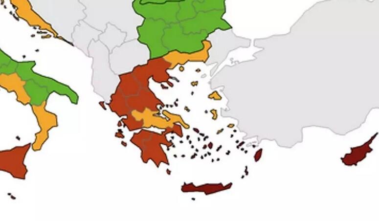 ECDC: Στο «κόκκινο» το μεγαλύτερο μέρος της Ελλάδας – Σε «βαθύ κόκκινο» νησιά Νοτίου Αιγαίου και Κρήτη
